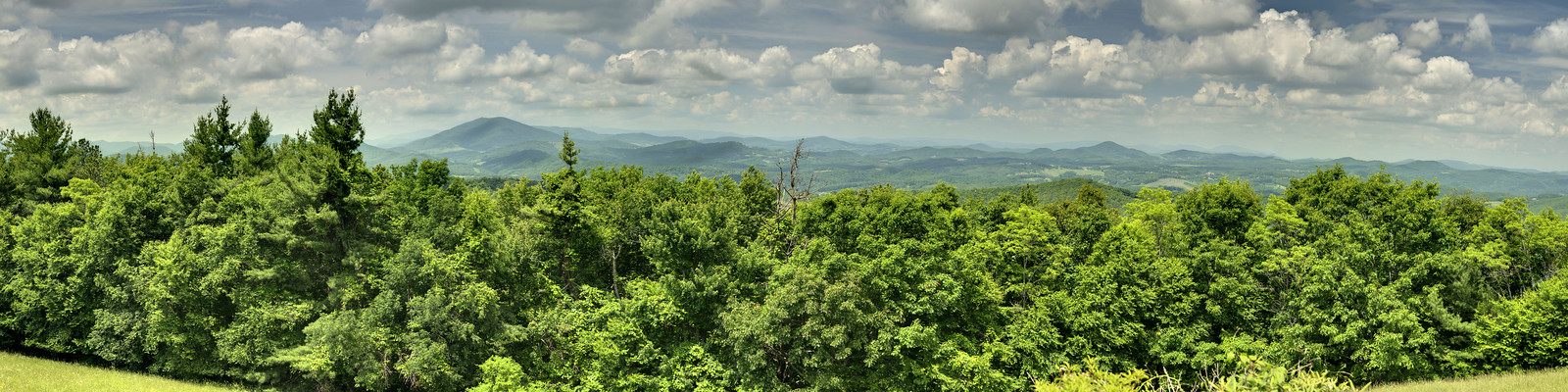 The view of the distant mountain at the Mt. Jefferson Overlook near Milepost 268 on the Blue Ridge Parkway in North Carolina on Friday, June 13, 2014. Copyright 2014 Jason Barnette