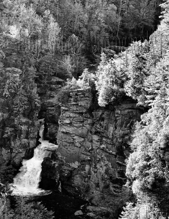 "Linville Falls is rate 9 out of 10 for beauty.  One of the most visited and maybe the most interesting falls in the state.  It consists of a short upper fall with a nearly level cascade leading to the lower falls and then shoots out into a gorge.  Used in the film ""The Last of The Mohicans"".  From the Blue Ridge Parkway, take the road to the visitor center and parking area that is located between Mileposts 316 and 317, one mile north of US 221.  The parking area is about 1.5 miles from the parkway.  To get to the location for a head-on photo shot is approximately 1 mile.  From hear you can shoot straight in to the series of upper falls.  However, to get this shot a 200 or 300mm lens is best because it is a far distance from where you will standing.  Taken with the Nikon D600 using a Nikon 24-70mm lens with a focal length setting of 70mm.  Aperture f/16, Shutter Speed 1/50 of a second and ISO at 1000."
