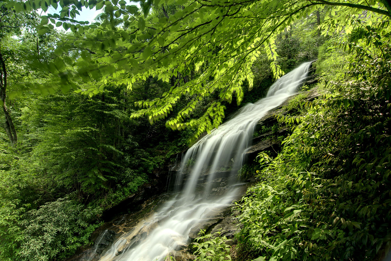 The tumbling waters of the Cascades Waterfall on Falls Creek in E.B. Jeffress Park at Milepost 272 on the Blue Ridge Parkway in North Carolina on Friday, June 13, 2014. Copyright 2014 Jason Barnette