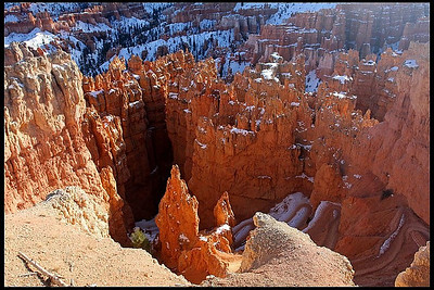 Hoodoos with winter snow