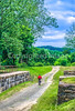 Cyclist on C&O Canal Towpath at Town Creek Aqueduct near WV-MD border - 6-2 - 72 ppi