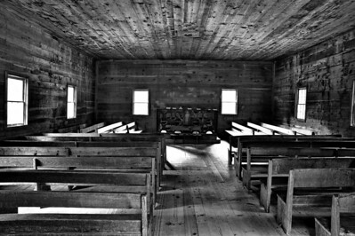 Interior of Cades Cove Primitive Baptist Church  Camera: Nikon D3s, 24-85mm f2.8 lens, Moose Peterson Circular polarizing + warming filter, Gitzo tripod + Arca Swiss ball head; ISO at 200, Manual Exposure Mode, Manual Focus