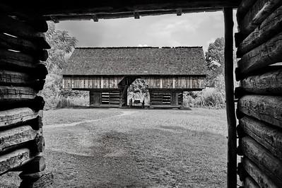 Cantilever barn on the Tipton Place  Camera: Nikon D3s, 24-85mm f2.8 lens, Moose Peterson Circular polarizing + warming filter, Gitzo tripod + Arca Swiss ball head; ISO at 200, Manual Exposure Mode, Manual Focus