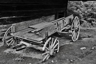 Old wagon at the Cable Mill Area   Camera: Nikon D3s, 24-85mm f2.8 lens, Moose Peterson Circular polarizing + warming filter, Gitzo tripod + Arca Swiss ball head; ISO at 200, Manual Exposure Mode, Manual Focus