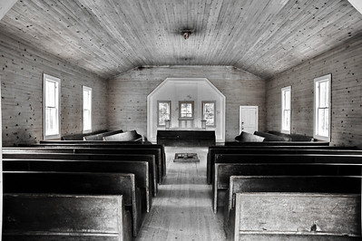 Interior of Missionary Baptist Church  Camera: Nikon D3s, 24-85mm f2.8 lens, Moose Peterson Circular polarizing + warming filter, Gitzo tripod + Arca Swiss ball head; ISO at 200, Manual Exposure Mode, Manual Focus