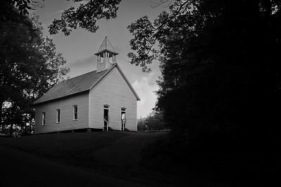 Methodist Church, Cades Cove   Camera: Nikon D3s, 24-85mm f2.8 lens, Moose Peterson Circular polarizing + warming filter, Gitzo tripod + Arca Swiss ball head; ISO at 200, Manual Exposure Mode, Manual Focus