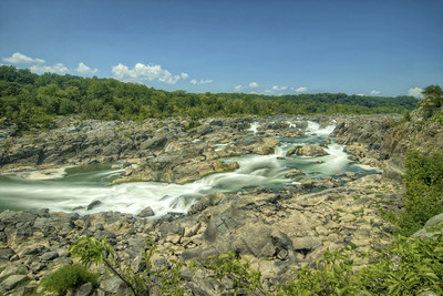 The rushing waters of Great Falls on the Potomac River at the Chesapeake & Ohio Canal National Historical Park in Potomac, MD on Sunday, August 16, 2015. Copyright 2015 Jason Barnette