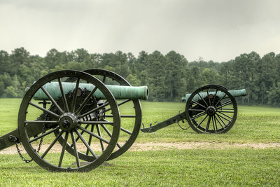 Canons on display in a large field at Chickamauga & Chattanooga National Military Park in Fort Oglethorpe, GA on Thursday, July 23, 2015. Copyright 2015 Jason Barnette