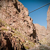 Royal Gorge Bridge, taken from an opening touring car on the Royal Gorge Railroad.