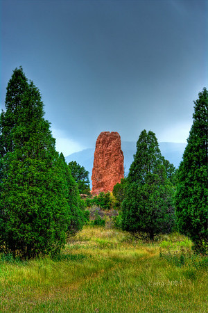 Garden of The Gods, Colorado.  HDR using three shot exposure, Pentax K-20, 50mm lens, 1/8, f/14, ISO 100.