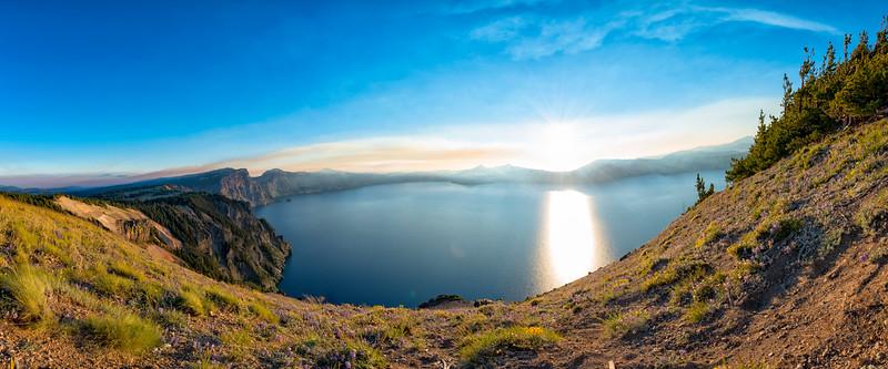 Crater Lake Wildflowers Sunset Fish Eye Panorama - Crater Lake
