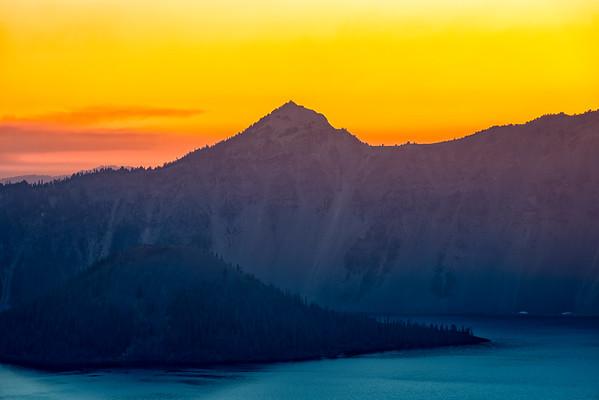 Smokey Watchman and Wizard Island Sunset - Crater Lake