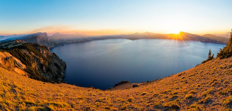 Crater Lake Sunset Fish Eye - Crater Lake