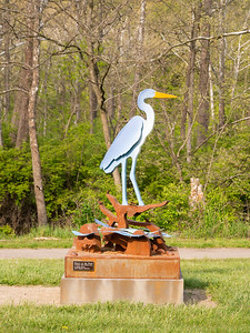 A sculpture of a great blue heron.