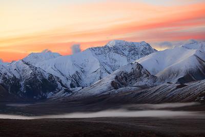 Sunrise behind the Alaska Range, Denali National Park