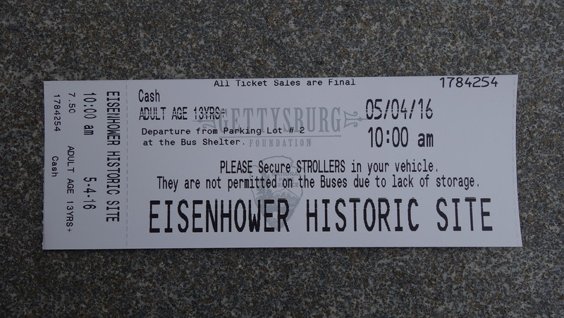 A ticket to enter the Eisenhower site.  They need to be purchaed at Gettysburg National Military Park and you have to take a shuttle to the site from the Gettysburg visitor center.