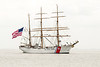 The United States Coast Guard Eagle, a sailing ship used for training future officers, sails through the Chesapeake Bay near Fort Monroe National Monument in Hampton, VA on Wednesday, August 19, 2015. Copyright 2015 Jason Barnette