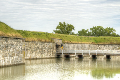 One of the bridges that allows vehicles to drive across the moat at Fort Monroe National Monument in Hampton, VA on Wednesday, August 19, 2015. Copyright 2015 Jason Barnette  After proudly serving 188 years as a coastal fortification, in 2011 Fort Monroe opened as the newest national monument. Today the 325 acre fort is open to the public for exporation including the Casement Museum, streets, and a few buildings.