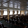 An empty deck inside.  The weather was fairly nice outside so most folks stayed outside. It would be a little different on our return.