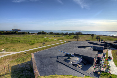 """A single 4.72"""" Armstrong Rapid Fire Gun, part of the Endicott modernization, at Fort Moultrie, part of the Fort Sumter National Monument, is the third incarnation of a fort built at this site in Sullivan's Island, SC on Saturday, March 9, 2013. Copyright 2013 Jason Barnette"""