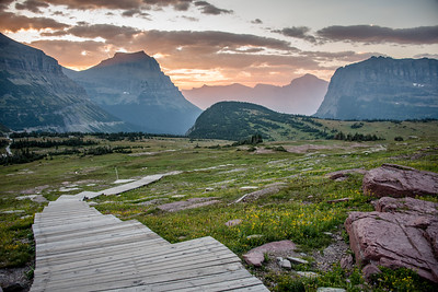 Sunrise along the Hidden Lake Overlook Trail in Glacier National Park, August 2017.