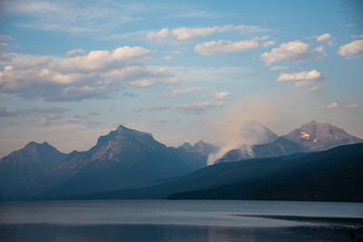 Sprague Fire seen from Apgar at Lake McDonald in Glacier National Park, August 2017.