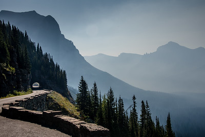 View along the Going-to-the-Sun-Road in Glacier National Park, August 2017.