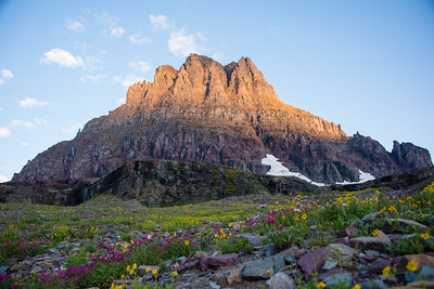 Clements Mountain at sunrise along the Hidden Lake Overlook Trail in Glacier National Park, August 2017.