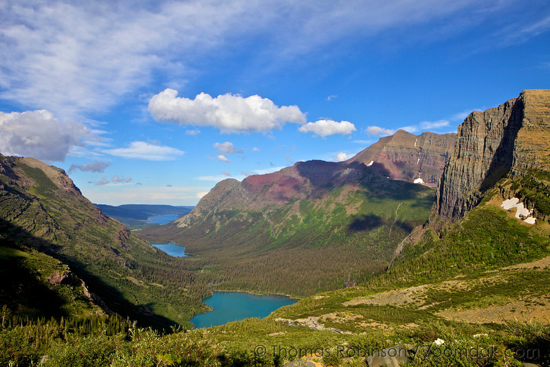The view down Grinnell Valley with Grinnell Lake, Lake Josephine and Lake Sherburne visible.