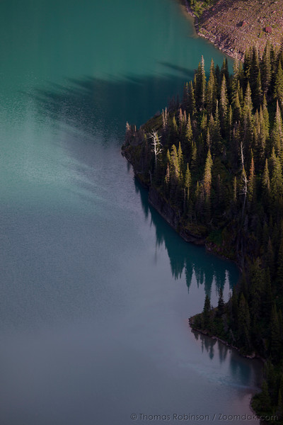 A look down on the edge of Grinnell Lake creates a fascinating perspective with the trees, shadows, and reflections.