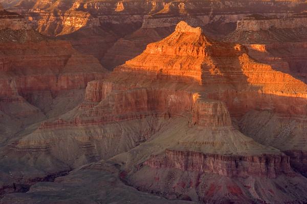 Grand Canyon, Bright Angel, Cheops Pyramid At Sunset