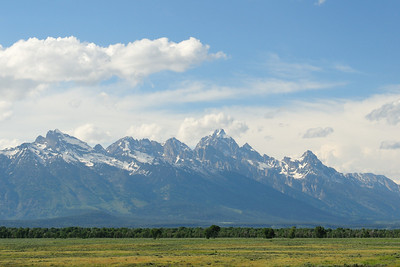 Grand Teton range with clouds