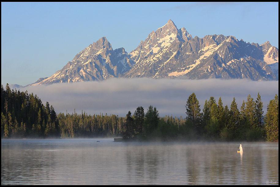 Teton Range seen from Colter Bay Marina, Early Morning. Grand Teton National Park