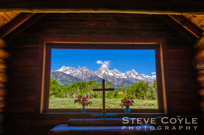 Looking out the window in the Chapel of the Transfiguration in Grand Teton National Park.This is a special place with a spectacular view.