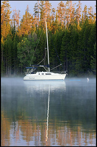 Boat in Fog, Colter Bay Marina, Sunrise. Grand Teton National Park
