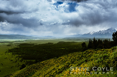 A stormy afternoon over the Snake River valley. The view from Signal Mountain is second to none with sweeping vistas of the Snake River valley and Teton Range.