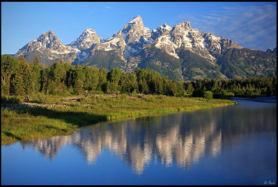 The Teton Range and Reflection, Schwabacher's Landing, Grand Teton National Park. Early Morning.  Schwabacher's Landing, a launch site on the Snake River for anglers and river rafters, is one of America's most spectacular viewpoints, a location that truly showcases the immense beauty of Grand Teton National Park.
