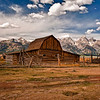 One of several Mormon Barns located on Mormon Row.  Mormons farmed this area building water ducts to irrigate the land.  A few barns and several houses are all that remain of this once united community.