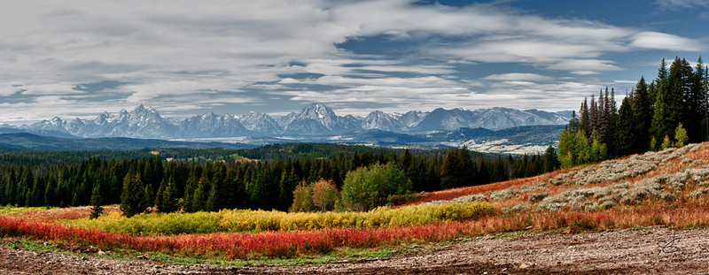Yep another Pano of the Tetons' outside Moran Junction on 287 scenic overlook.