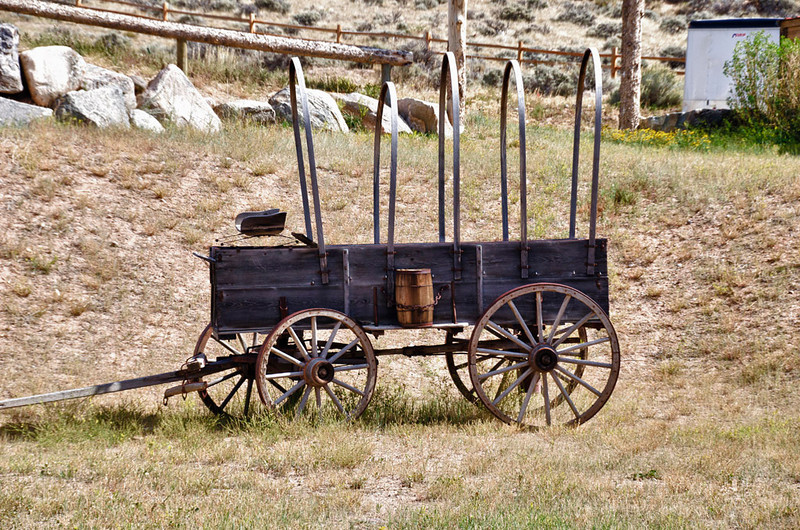 Covered Wagon without its cover in Dubois, Wy.