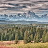 After leaving Dubois it was on to the Tetons' traveling west on 287.  Before getting to Moran Junction there is a scenic overview that we stopped at.  This is probably the best way to approach the Tetons' because a visitor will see them in all there grandeur from afar off.  Took a lot of shots from this vantage point and had to do a few dozen panoramas while we were there.