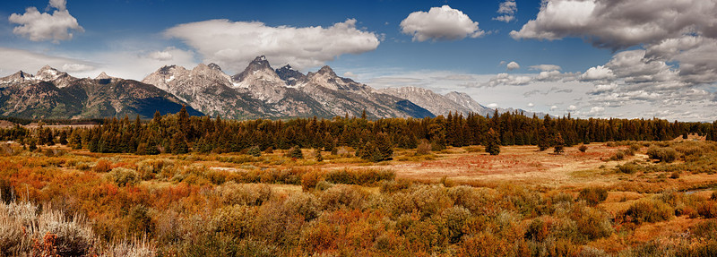 Pano of the Tetons' from Moose Junction.