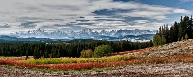 Pano of the Tetons' outside Moran Junction on 287 scenic overlook.