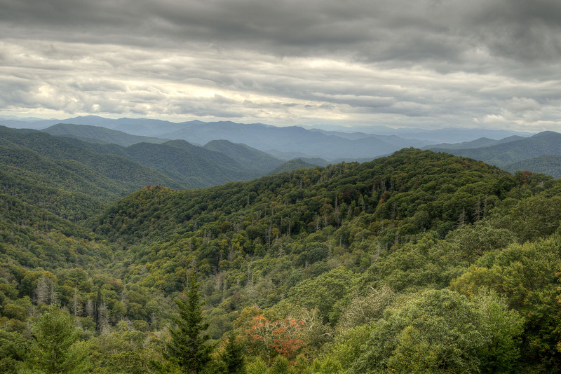 Rolling hills and mountains viewed from a scenic overlook in the Great Smoky Mountains National Park in Cherokee, NC on Sunday, September 28, 2014. Copyright 2014 Jason Barnette