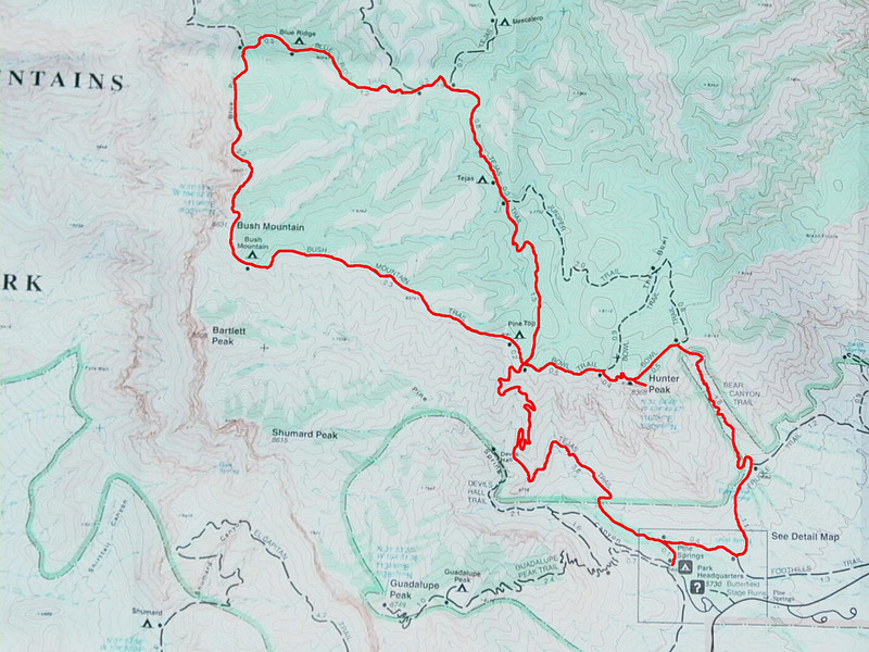 The route for the trip - Started at Pine Springs TH, hiked over to Bush Mountain camp for night one, over past Blue Ridge and down to Tejas for night two, came full circle and went east and bagged Hunter Peak, down the Bear Canyon Trail and back to Pine Springs.