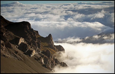 Haleakala crater and the ocean of clouds, early morning  Haleakala National Park, Maui, Hawaii