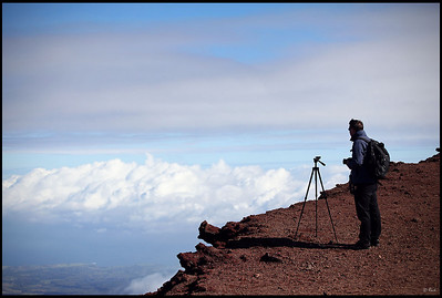 Photographer at work near the Haleakala crater  Haleakala National Park, Maui, Hawaii
