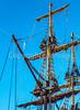 Sailing ship model on Yorktown , VA, harbor - C3-0731 - 72 ppi