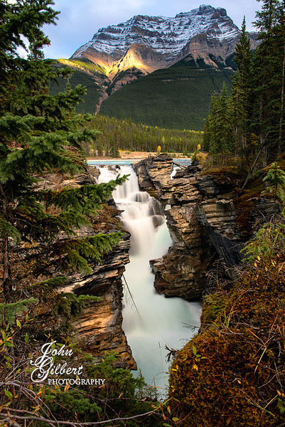 Athabasca Falls 09/30/2013:  Another view of the falls as it plunges into the canyon.<br /> <br /> Nikon D600, 24-70mm lens @27mm. Aperture f/14, Shutter Speed 6 seconds, ISO 100, and -.33EV.  Single shot, toned mapped using NIK software and PS6.  Tripod.