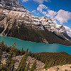 Peyto Lake 10/03/2013:  Didn't have a fisheye lens with me and was not set up for a pano so turned the camera to an angle to capture the length of the lake.  This is one of those times where you want to wait till noon or thereafter when the sun is overhead to shoot this lake as the sun brings out the blues and greens of the water.